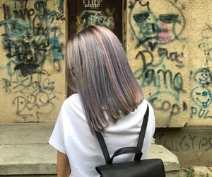 colorful, grey hair, and purple hair image