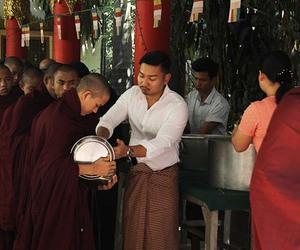 kalaywa monastery, yangon buddhist lunch, and myanmar buddhism image