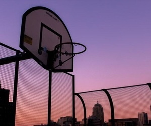 Basketball, sunset, and sky image