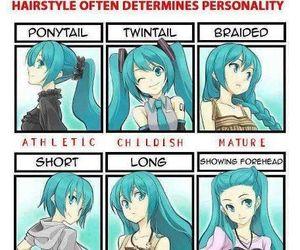 anime, hairstyles, and miku image