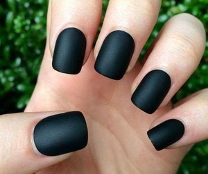 black nail polish, black nails, and fake nails image
