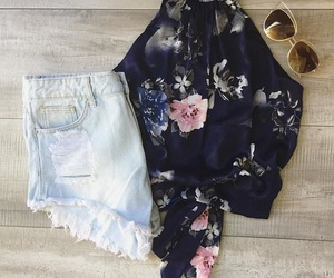 blouse, floral, and high waisted shorts image