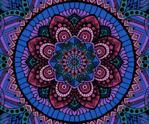 blue, digital art, and mandala image