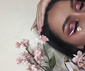 makeup, flowers, and pink image