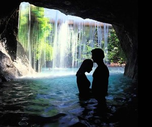 couple, love, and waterfall image