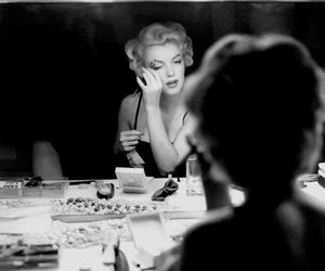 Marilyn Monroe, black and white, and make up image