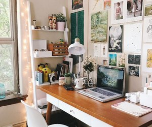 room, decor, and desk image