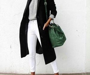 black coat and white trouser image