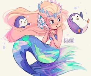 itslopez, art, and mermaid image