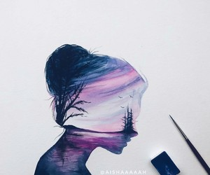 art, girl, and purple image