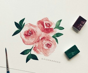 art, roses, and red image