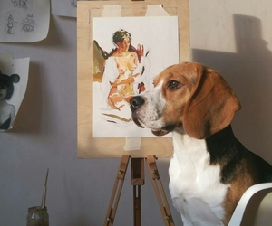 art, beagle, and dog image