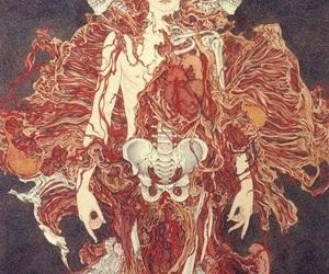 art, skeleton, and skull image