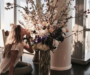 flowers, girl, and feed image
