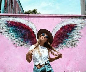 girl, pink, and wings image