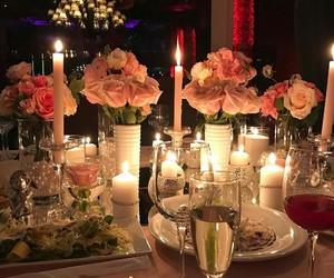 flowers, food, and wedding image