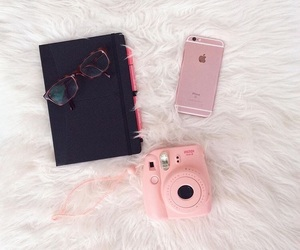 book, instax, and iphone image