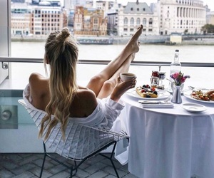 girl, travel, and breakfast image