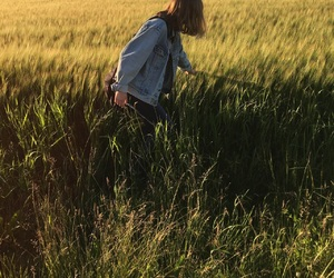 field, girl, and grass image