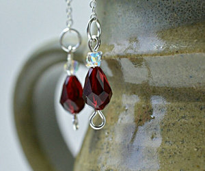 crystal jewelry, red crystal, and tear drop earrings image