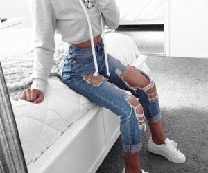 fashion, ripped jeans, and white sneakers image