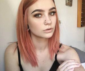 dyed hair, pink orange, and piercing girl image