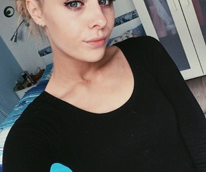 blonde girl, room, and blonde hairstyle image