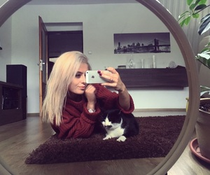 blonde girl, blonde hair, and cat image