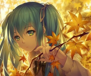anime girl, miku hatsune, and autum image