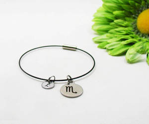 charm bracelet, etsy, and initial jewelry image