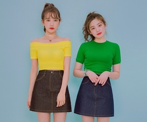 amarillo, green, and korean fashion image