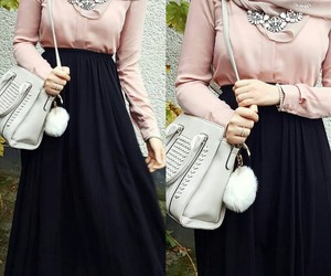 hijab, pink, and stylé image