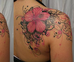 flower, pink, and tattoo image