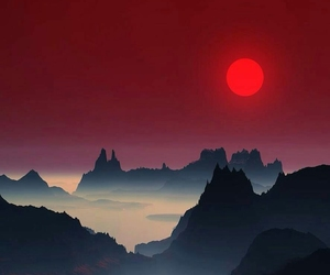 mountains, red, and sunset image
