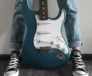 guitar, converse, and music image
