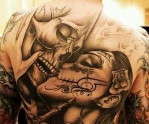 tattoo, skull, and kiss image