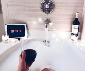 netflix, bath, and wine image