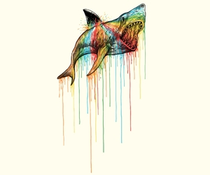 illustration, ocean, and sharks image