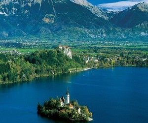 lake, mountain, and slovenia image