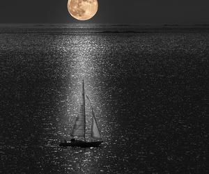 moon, night, and sailboat image