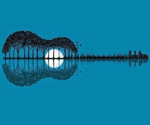 guitar, music, and moon image