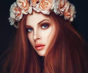 blue eyes and redhead flower crown image