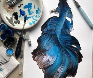 art, blue, and fish image