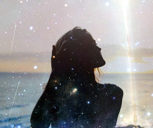 girl, galaxy, and sea image
