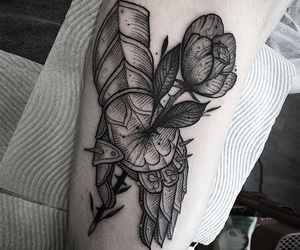 black, hand, and ink image