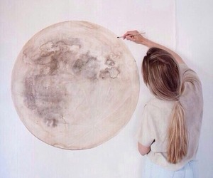 moon, art, and girl image