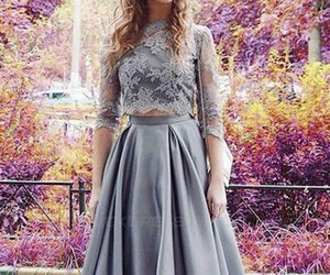 a-line prom dresses, lace prom dresses, and two pieces prom dress image