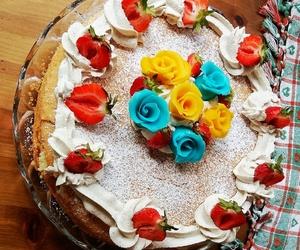 baking, strawberry, and cake image