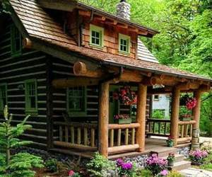 home, house, and log cabin image