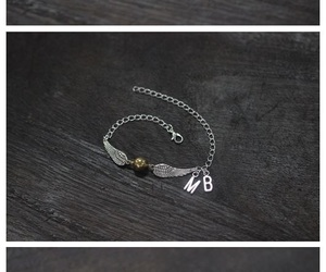 initial jewelry, wing bracelet, and golden ball bracelet image